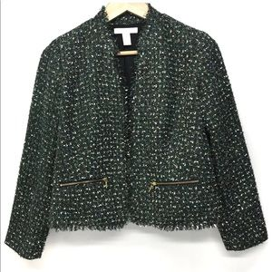 Chico's Size 1 Green Tweeted Blazer
